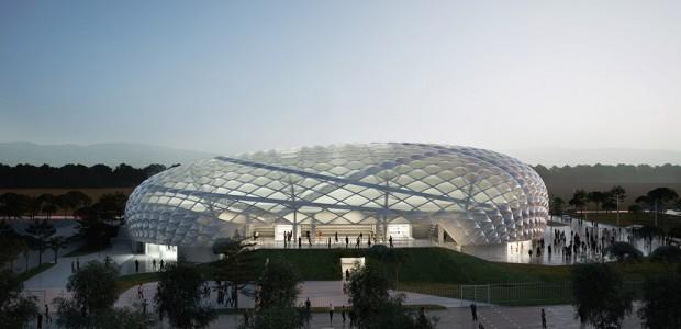 Wah Stadion Olahraga Ini Berbentuk Gelembung yang Tembus Cahaya
