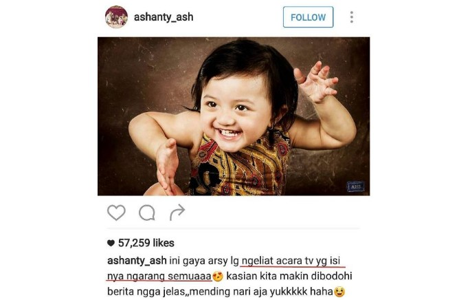 Ashanty dibully netizen di instagram